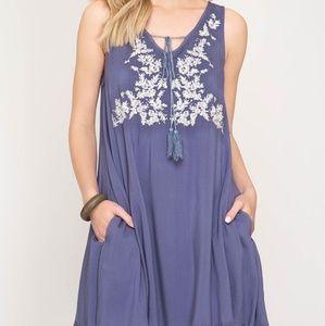 She + Sky blue dress